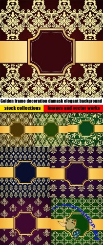 Golden frame decoration damask elegant background