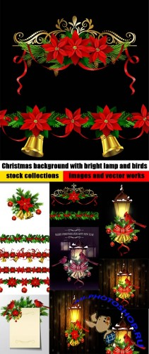 Christmas background with bright lamp and birds