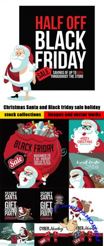 Christmas Santa and Black friday sale holiday