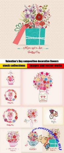 Valentine's Day composition decorative flowers