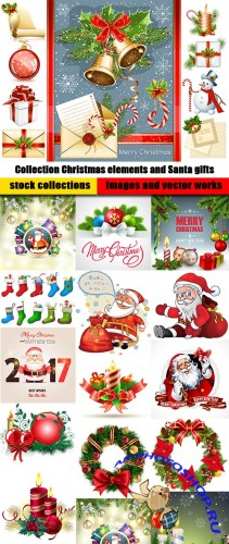 Collection Christmas elements and Santa gifts