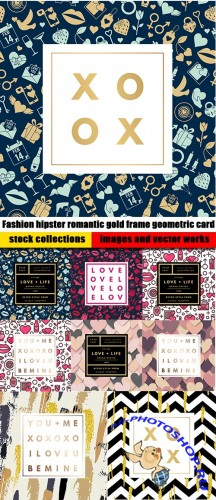 Fashion hipster romantic gold frame geometric card