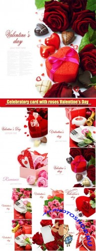 Celebratory card with roses Valentine's Day