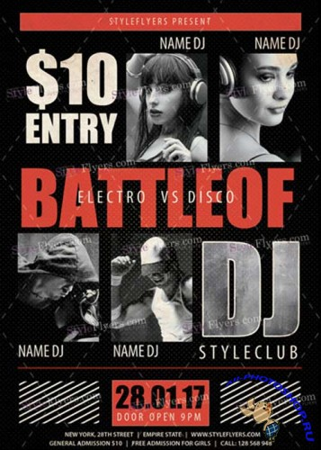 Battle of DJ PSD V11 Flyer Template
