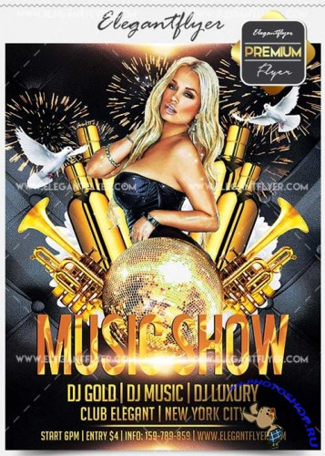 Music Show Flyer PSD V14 Template + Facebook Cover
