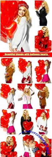 Beautiful blonde with balloons hearts