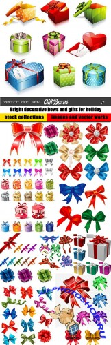 Bright decorative bows and gifts for holiday