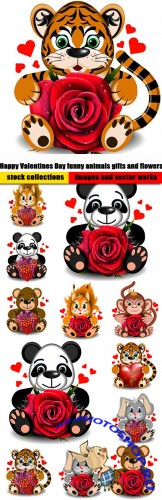 Happy Valentines Day funny animals gifts and flowers