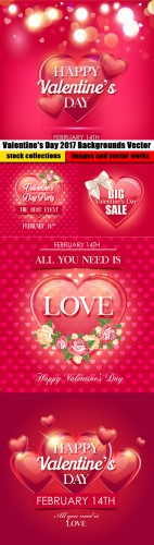 Valentine's Day 2017 Backgrounds Vector