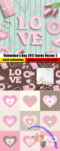 Valentine's Day 2017 Cards Vector 2