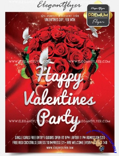 Happy Valentines Party Flyer PSD V30 Template + Facebook Cover