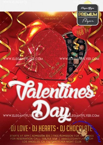 Valentines Day Flyer PSD V34 Template + Facebook Cover