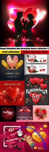 Happy Valentines Day decorative hearts collection 17
