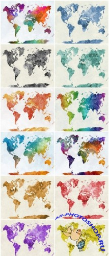 World map in watercolor rainbow - Set of 12xUHQ JPEG Professional Stock Images