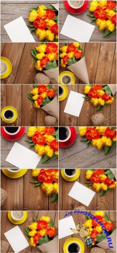 Colorful tulips, greeting card and coffee - Set of 14xUHQ JPEG Professional Stock Images
