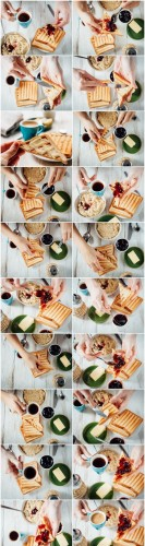 Breakfast with coffee, toasts, butter and jam 2 - 20xUHQ JPEG Professional Stock Images