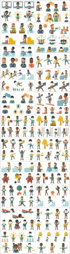 Flat business characters and life of people 2 - Set of 24xEPS