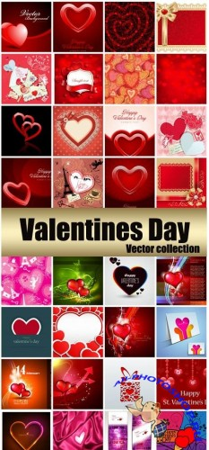 Valentine's Day, romantic backgrounds, vector hearts # 30