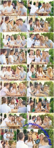 Happy young group of teenage friends having fun in the outdoor cafe - Set of 19xUHQ JPEG Professional Stock Images