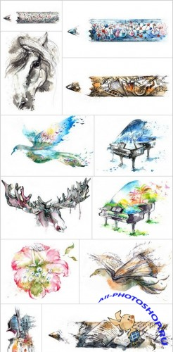 Watercolor illustration - Set of 14xUHQ JPEG Professional Stock Images