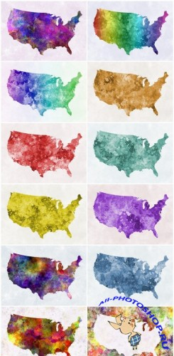 World map in watercolor - Set of 12xUHQ JPEG