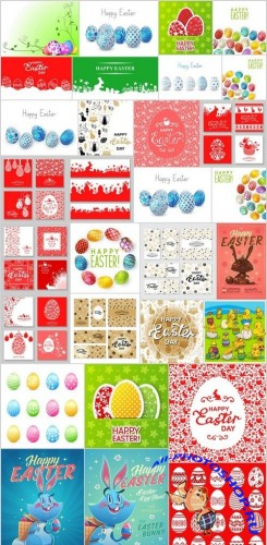Easter eggs, Easter rabbit & bunny - Happy Easter 4 - Set of 30xEPS,AI Professional Vector Stock