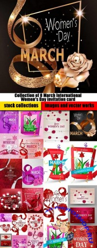 Collection of 8 March International Women's Day invitation card flyer banner 25 EPS