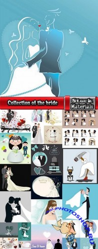 Collection of the bride and groom wedding cartoon couple card invitation flyer banner