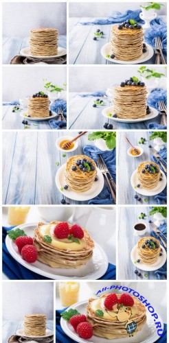 Delicious pancakes with fresh blueberries 10X JPEG