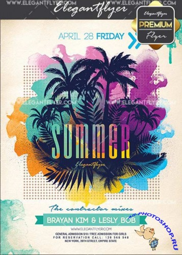 Summer Party V04 Flyer PSD Template + Facebook Cover