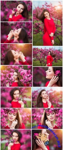 Happy beautiful young woman in blossom park with trees and flowers 15X JPEG