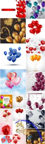 Bright Balloons Background - 20 Vector
