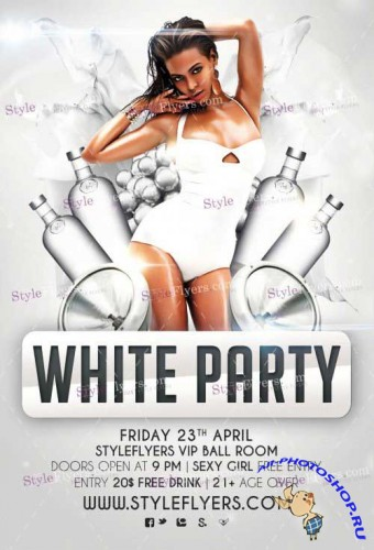 White Party V14 PSD Flyer Template