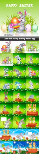Cute little bunny holding easter egg - 30 EPS