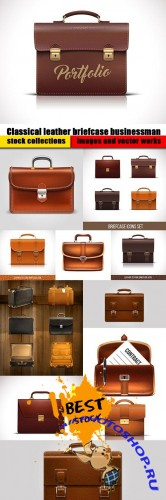 Classical leather briefcase businessman