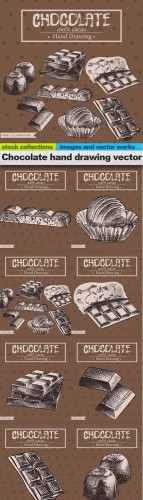 Chocolate hand drawing vector, 08 x EPS