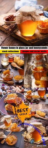 Flower honey in glass jar and honeycombs