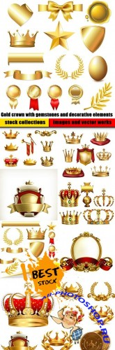 Gold crown with gemstones and decorative elements