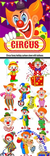 Circus funy holiday cartoon clown with balloons