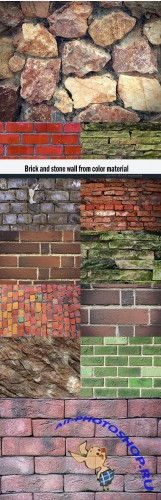 Brick and stone wall from color material