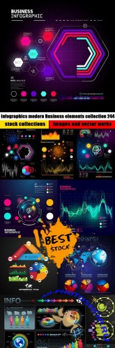 Infographics modern Business elements collection 244