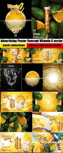 Advertising Poster Concept Vitamin C vector