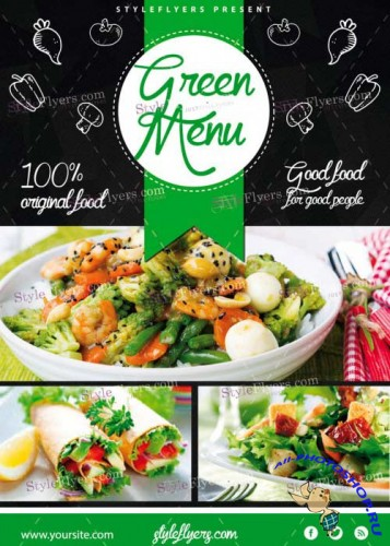 Green Menu V14 PSD Flyer Template