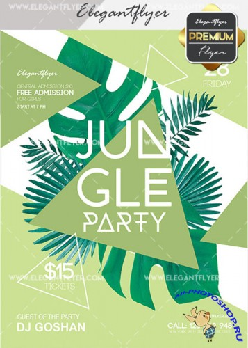 Jungle Party V9 Flyer PSD Template + Facebook Cover