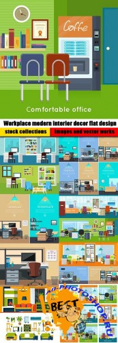 Workplace modern interior decor flat design