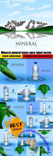 Mineral natural water pure label vector