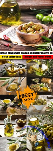 Green olives with branch and natural olive oil