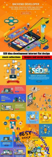 SEO idea development internet flat design