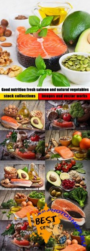 Good nutrition fresh salmon and natural vegetables