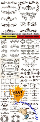 Calligraphic vintage ornaments design elements collection